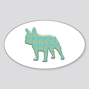 Paisley Bulldog Oval Sticker