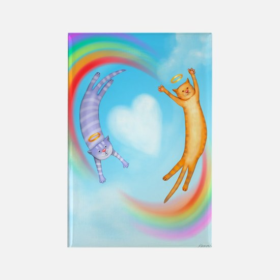 Whimsical Cat Angels Rectangle Magnet