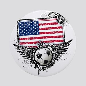 Soccer fans USA Round Ornament
