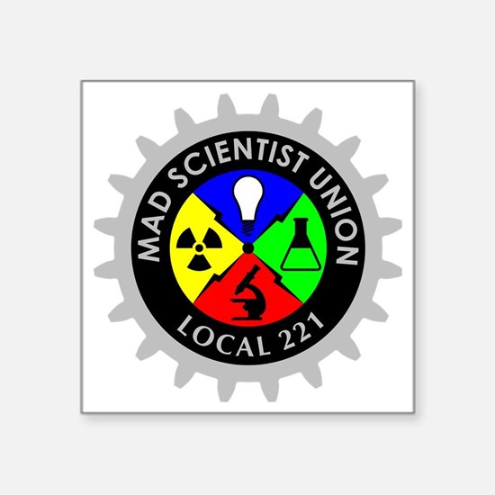 "mad_scientist_union_logo_da Square Sticker 3"" x 3"""