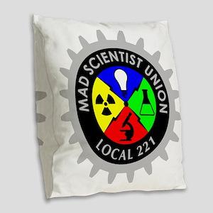 mad_scientist_union_logo_dark Burlap Throw Pillow