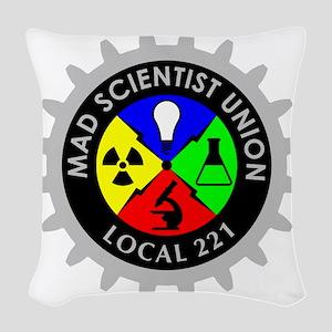 mad_scientist_union_logo_dark Woven Throw Pillow