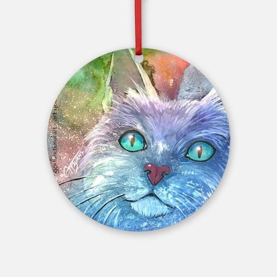 Blue, Bodacious, Beautiful Feline Round Ornament