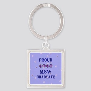 2-2010 msw graduate background Square Keychain