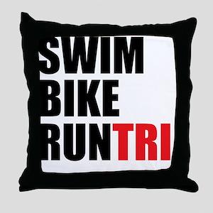 Swim-Bike-Run-Tri Throw Pillow