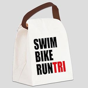 Swim-Bike-Run-Tri Canvas Lunch Bag