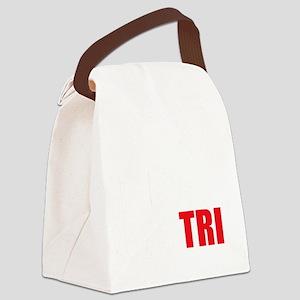Swim-Bike-Run-Tri-WHITE Canvas Lunch Bag