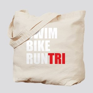 Swim-Bike-Run-Tri-WHITE Tote Bag