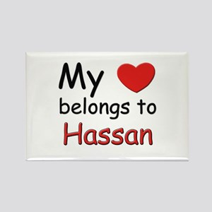 My heart belongs to hassan Rectangle Magnet