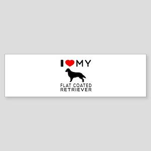 I Love My Flat Coated Retriever Sticker (Bumper)