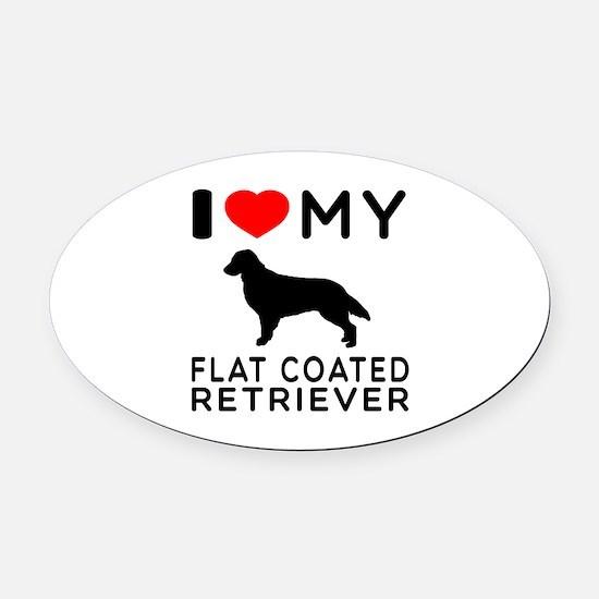 I Love My Flat Coated Retriever Oval Car Magnet