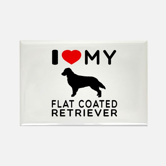 I Love My Flat Coated Retriever Rectangle Magnet