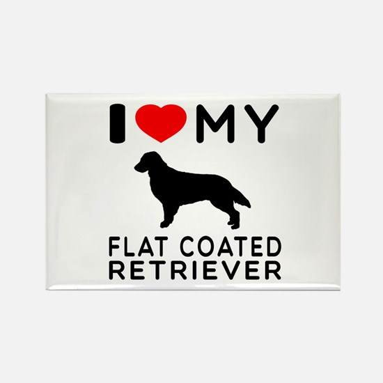 I Love My Flat Coated Retriever Rectangle Magnet (