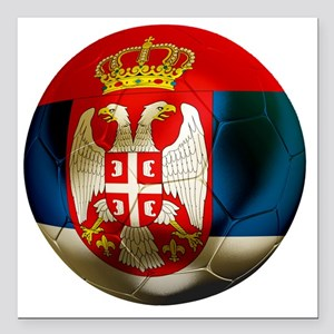 "Serbia Football Square Car Magnet 3"" x 3"""