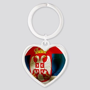 Serbia Football Heart Keychain