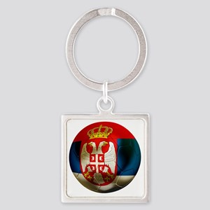 Serbia Football Square Keychain