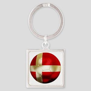 Denmark Football Square Keychain