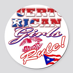 puerto rican girls rule Round Car Magnet