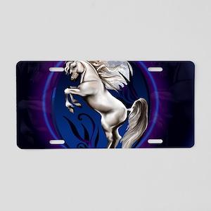 Rearing White Horse Oval-Ya Aluminum License Plate