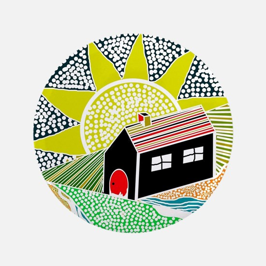 """House of Lines Home Sweet Home Lime 3.5"""" Button"""