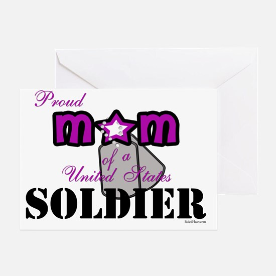 PROUD mOM sOLDIER WITH dOG tAGS copy Greeting Card