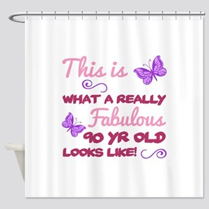 Fabulous 90th Birthday Shower Curtain
