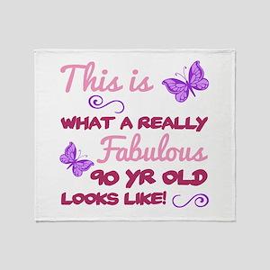 Fabulous 90th Birthday Throw Blanket