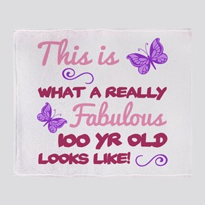 Fabulous 100th Birthday Throw Blanket
