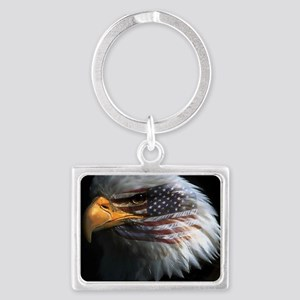 eagle with text Landscape Keychain