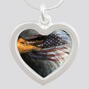 eagle with text Silver Heart Necklace