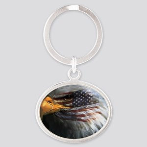 eagle with text Oval Keychain