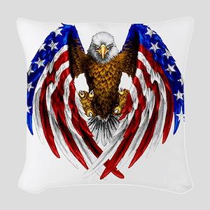 2-FLAGEAGL2 Woven Throw Pillow