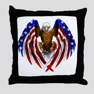 2-FLAGEAGL2 Throw Pillow