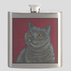 British Grey Blue Angel Flask