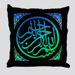 bism_bluegr_on_blk_filla_lg Throw Pillow