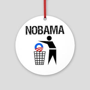 NoBama-(trash)-white-shirt Round Ornament