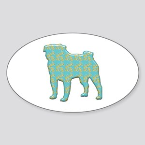 Paisley Pug Oval Sticker