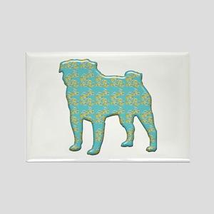 Paisley Pug Rectangle Magnet