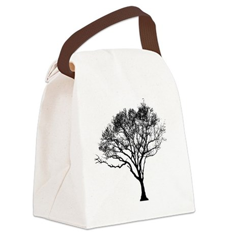 Black Tree Canvas Lunch Bag