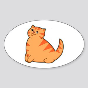Happy Fat Orange Cat Oval Sticker