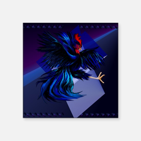 """Black Fighting Rooster_mpad Square Sticker 3"""" x 3"""""""