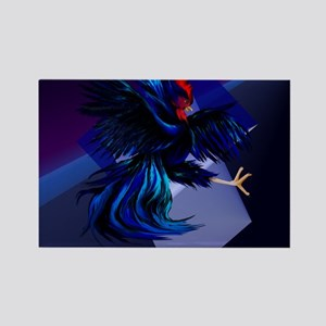 Black Fighting Rooster_mpad Rectangle Magnet