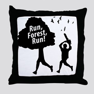Run Forest Run Throw Pillow