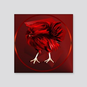 "Big, Red Rooster-circle Square Sticker 3"" x 3"""