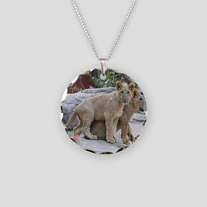 lion cubs-MP Necklace Circle Charm