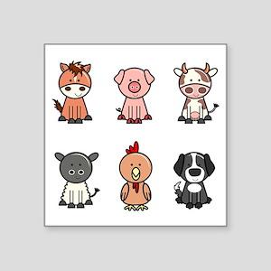 "farm animal set Square Sticker 3"" x 3"""