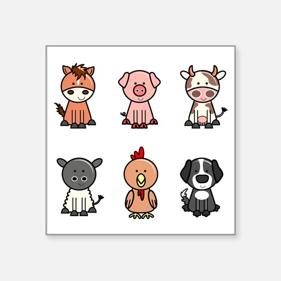"farm animal set Square Sticker 3"" x 3"""