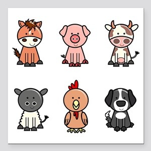 "farm animal set Square Car Magnet 3"" x 3"""