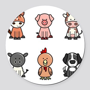farm animal set Round Car Magnet