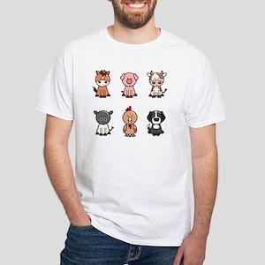 farm animal set White T-Shirt